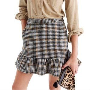 J. Crew Ruffle Mini Skirt - Houdstooth